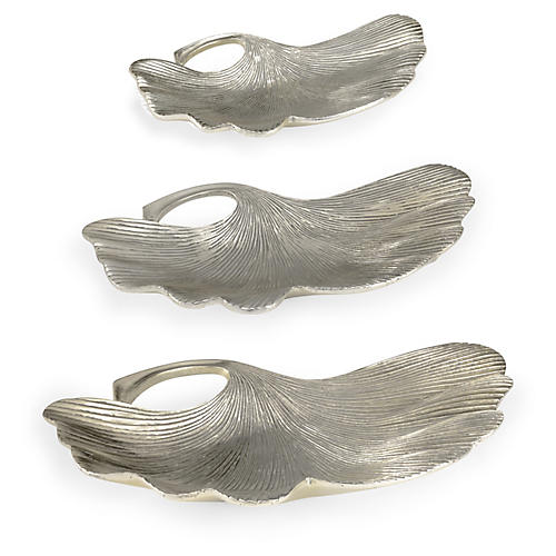 S/3 Lotus Leaf Trays, Silver