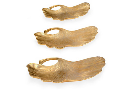 S/3 Lotus Leaf Trays, Gold