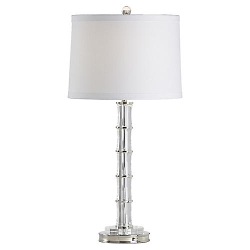 Bamboo Crystal Table Lamp, Clear