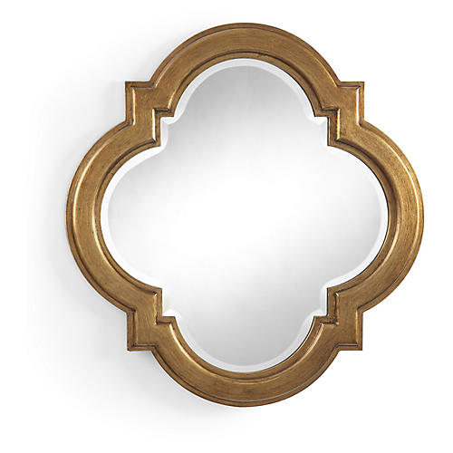 Quatrefoil Wall Mirror, Antiqued Gold