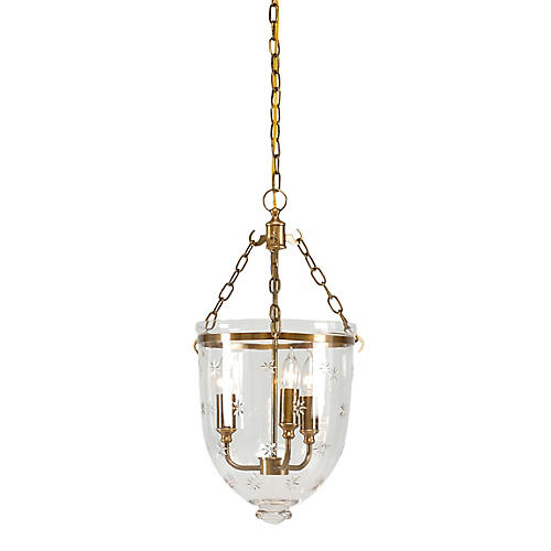 Randolf 3-Light Pendant, Clear/Brass
