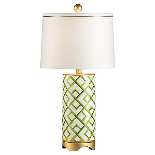 Bamboo Pattern Table Lamp, Green/White