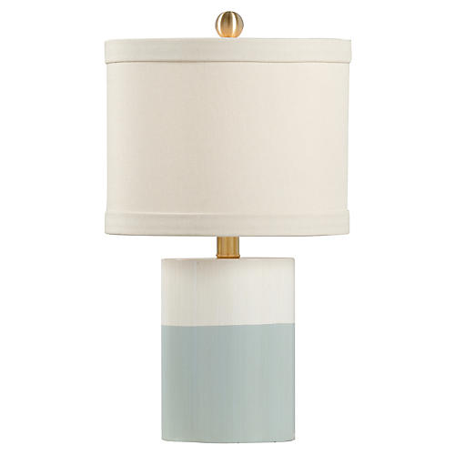 Warren Banded Table Lamp, Blue/Cream
