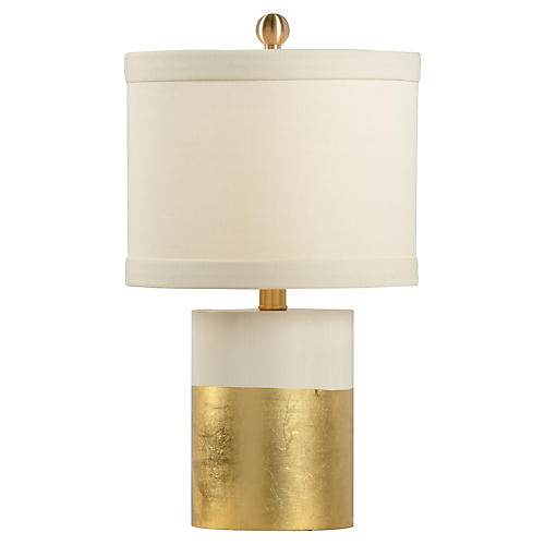 Warren Banded Table Lamp, Gold/Cream