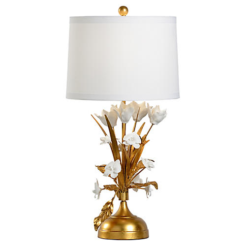 French Flower Porcelain Table Lamp, Gold Leaf