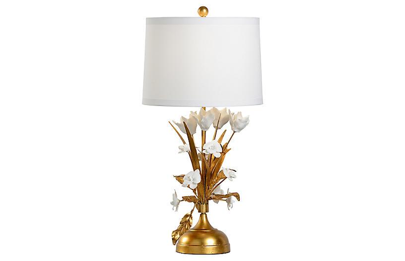 French Flower Porcelain Table Lamp, Gold Leaf