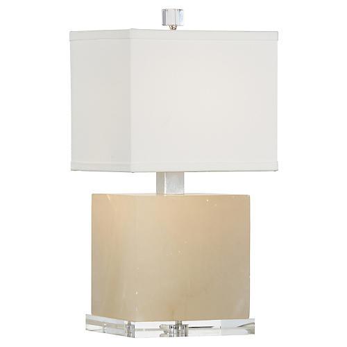Block Alabaster Table Lamp, Natural