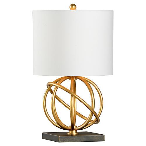 Geometric Sphere Table Lamp, Gold/Bronze