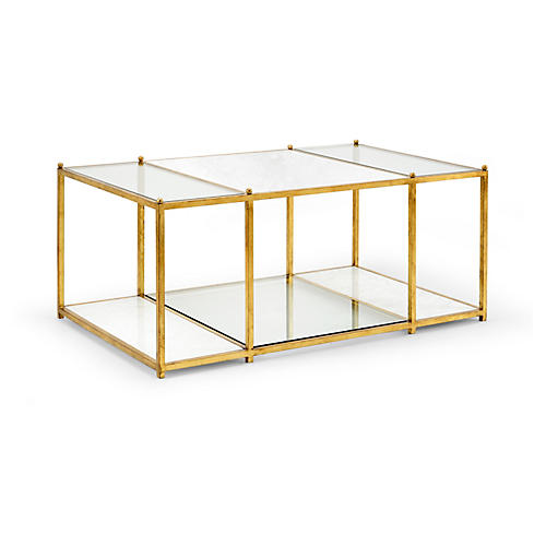 Directoire Stripe Marble Coffee Table, Gold Leaf