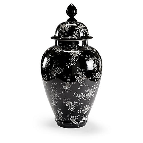 "26"" Flower Ginger Jar, Black/White"