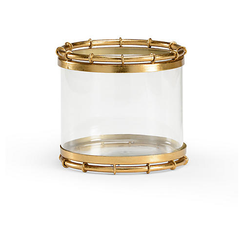 "8"" Round Bamboo Vase, Clear/Gold"