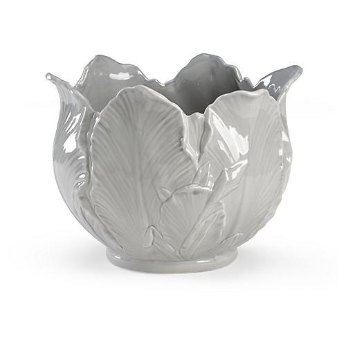 "14"" Leaf Cachepot, Gray"
