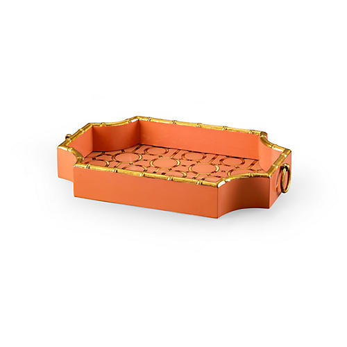"20"" Bamboo Decorative Tray, Orange/Gold"