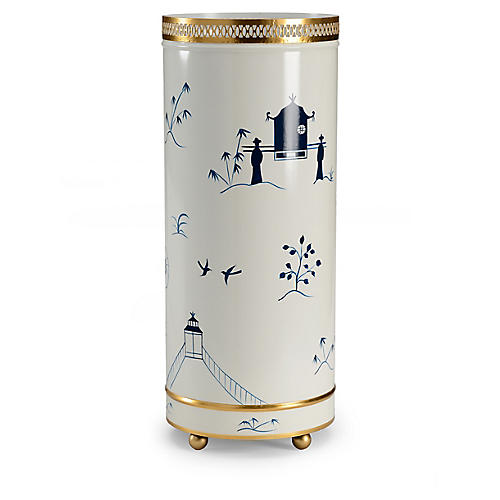 "25"" Chinoiserie Umbrella Stand, White/Blue"
