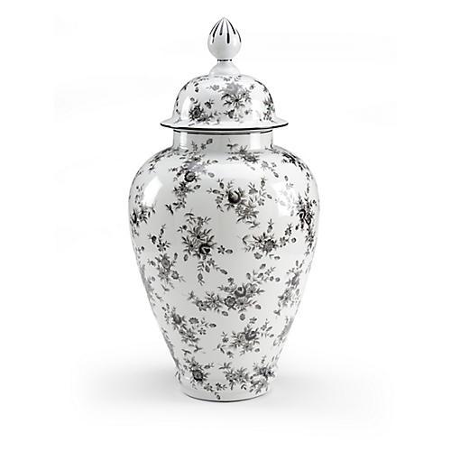 "25"" Cabbage Rose Ginger Jar, White/Black"