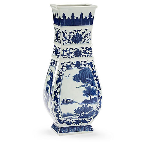 "15"" Londonderry Porcelain Vase, Blue/White"
