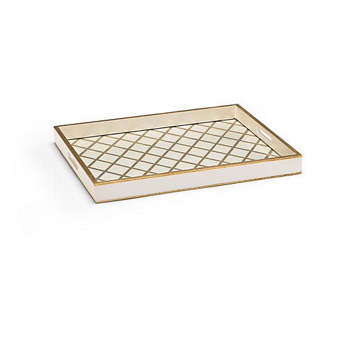 "22"" Frewin Decorative Tray, Cream/Gold"