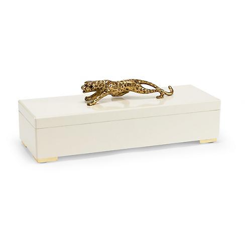 "22"" Cheetah Decorative Box, Cream/Gold"