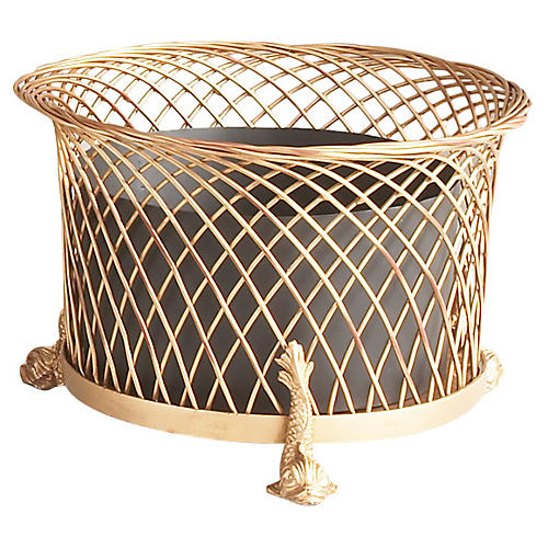 "15"" Round Dolphin Planter, Gold/Black"