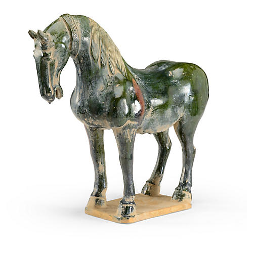 "20"" Chinese Horse Accent, Antiqued Green"
