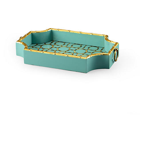 "20"" Bamboo Decorative Tray, Teal/Gold"