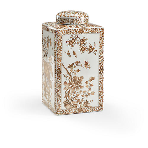 "12"" Lotus Square Tea Caddy, Nutmeg/White"