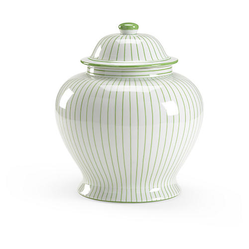 "15"" Castle Ginger Jar, White/Green"