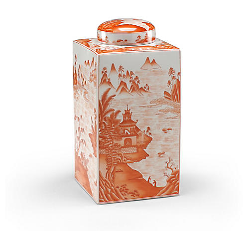 "16"" Canton Tea Caddy, Pumpkin"