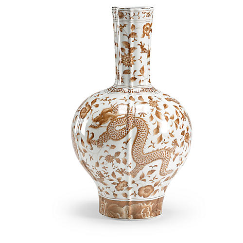 "16"" Dragon Flower Vase, Nutmeg"
