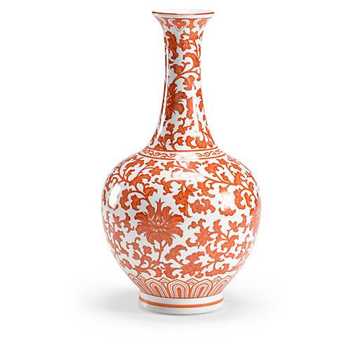 "15"" Long-Neck Flower Vase, Pumpkin"
