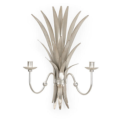 Wheat 2-Light Sconce, Silver