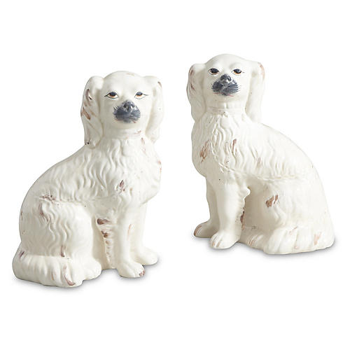 Asst. of 2 Comfort Dog Figures, Cream