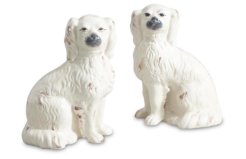Asst. of 2 Comfort Dog Figures, Cream