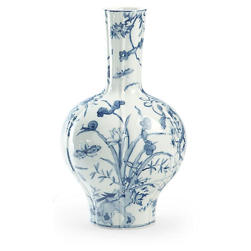"16"" Butterfly Porcelain Vase, Blue/White"