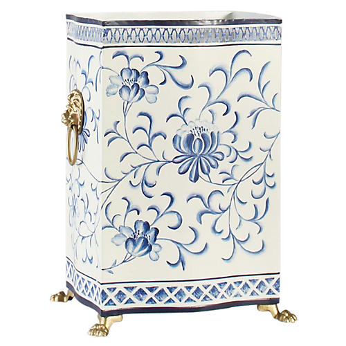 "15"" Lion Bloom Wastebasket, Cream/Blue"
