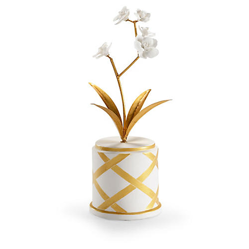 "17"" Round Flower Roped Accent, White/Gold"
