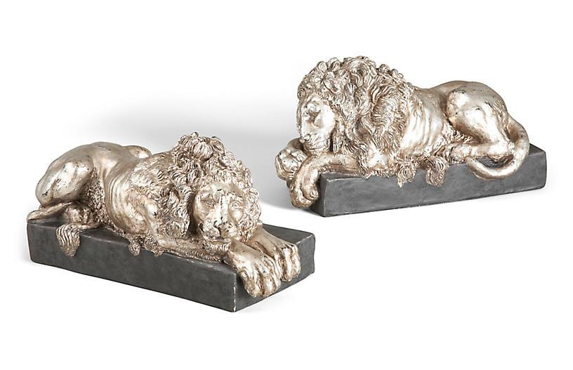 Asst. of 2 Kensington Lion Figures, Silver