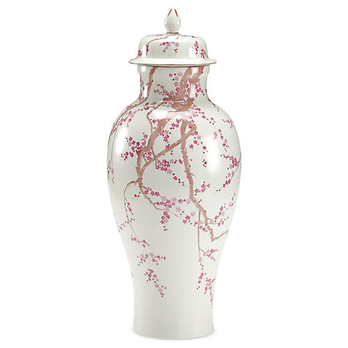 "20"" Slender Temple Jar, Pink/White"