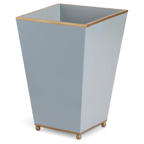 14' Square Wastebasket, Pastel Blue/Gold
