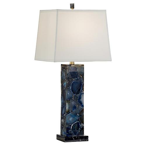 Agate Table Lamp, Blue/Black