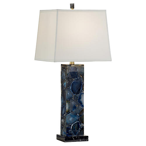 Agate Table Lamp, Blue/Black