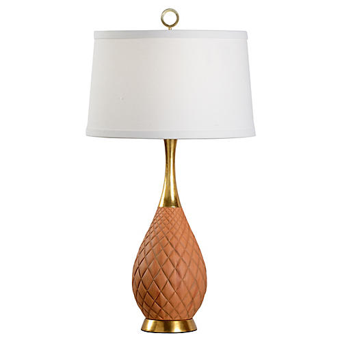 Clark Pineapple Table Lamp, Cedar/Gold