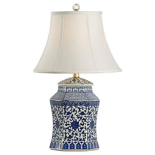 Dynasty Table Lamp, Blue/White