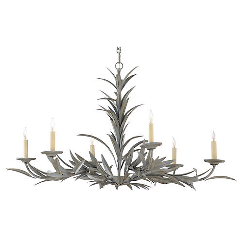 Laurel Sunburst 6-Light Chandelier, Weathered Gray