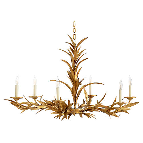 Laurel Sunburst Wide Chandelier, Antiqued Gold