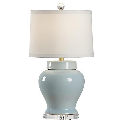 Lumberton Vase Table Lamp, Blue/Clear