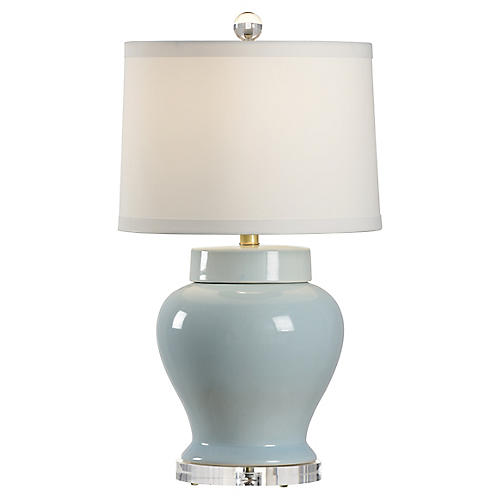 Lumberton Vase Table Lamp, Blue/Clear