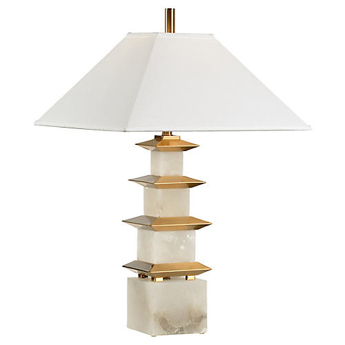 Pagoda Alabaster Table Lamp, White/Coffee Bronze
