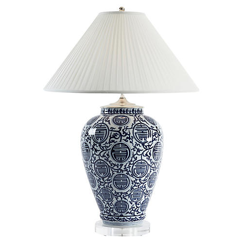 Queens Gate Vase Table Lamp, Blue/White