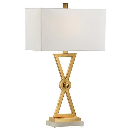Regiment Table Lamp, Gold/White